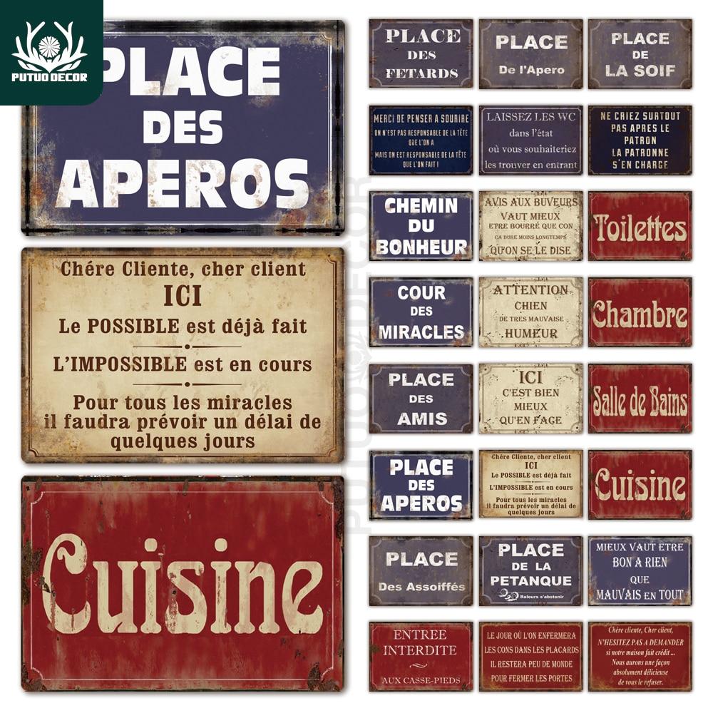 Place Des apéros Plaque métal Vintage français rétro métal étain  Plaque décorative