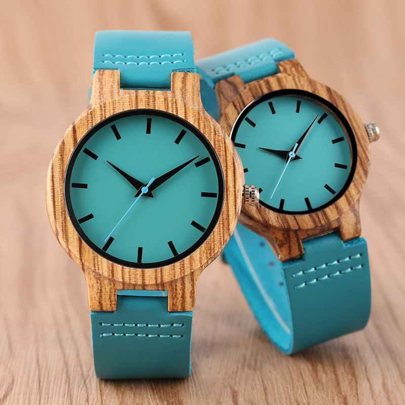 Montre de luxe en bois bleu Royal montre-bracelet à Quartz 100% horloge en bambou naturel Economisez 12.54 euros