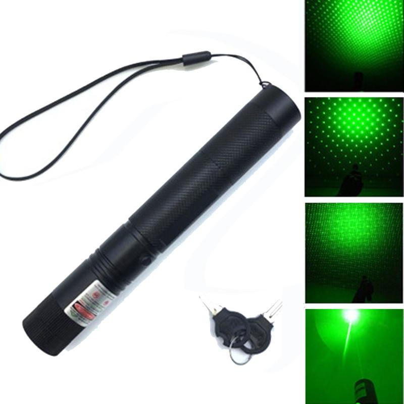 Laser pointeur réglable Focus Laser stylo lumière brûlant faisceau étoilé tête Puissant 532 nm militaire 8000 m vert