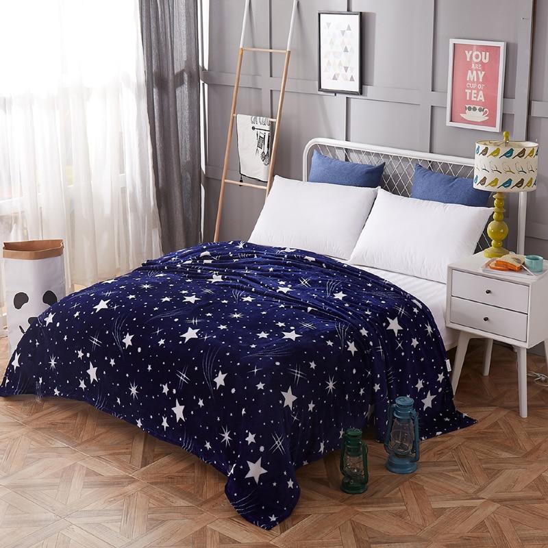 couvre lit Étoiles lumineuses couverture 200 x 230 cm haute densité Super doux flanelle  Plaids