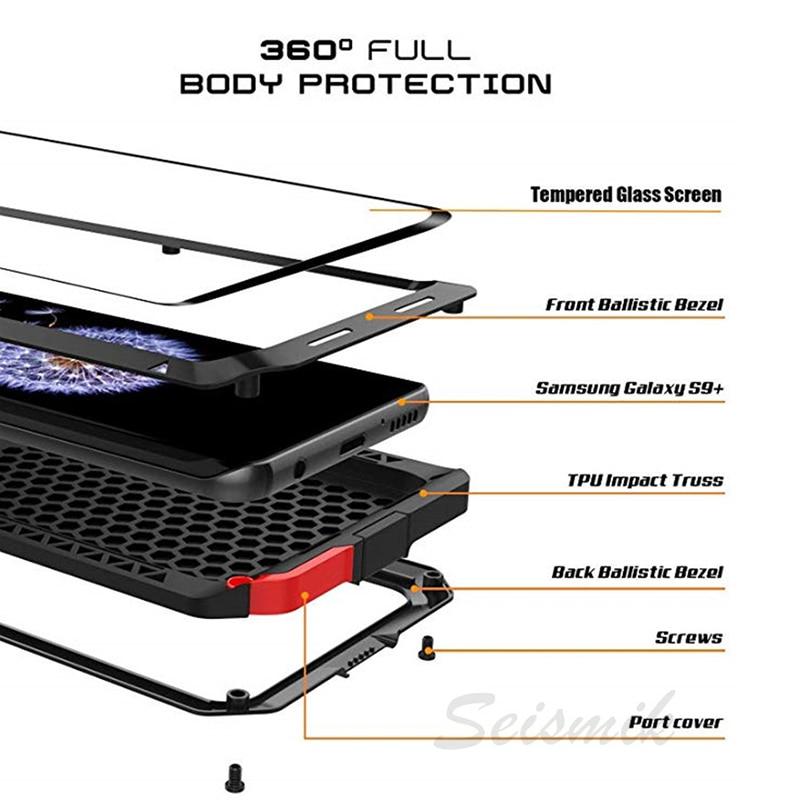 Verre trempé complet de protection de luxe Doom armure boîtier en métal housse antichoc pour Samsung S7 S8 S10 S10Plus S9 S9Plus Note8 Note9