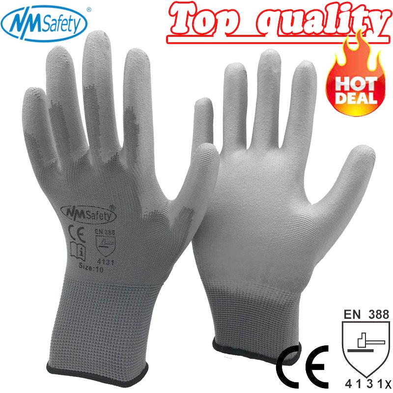 12 paires de gants de travail pour gant de sécurité de revêtement de paume en polyuréthane