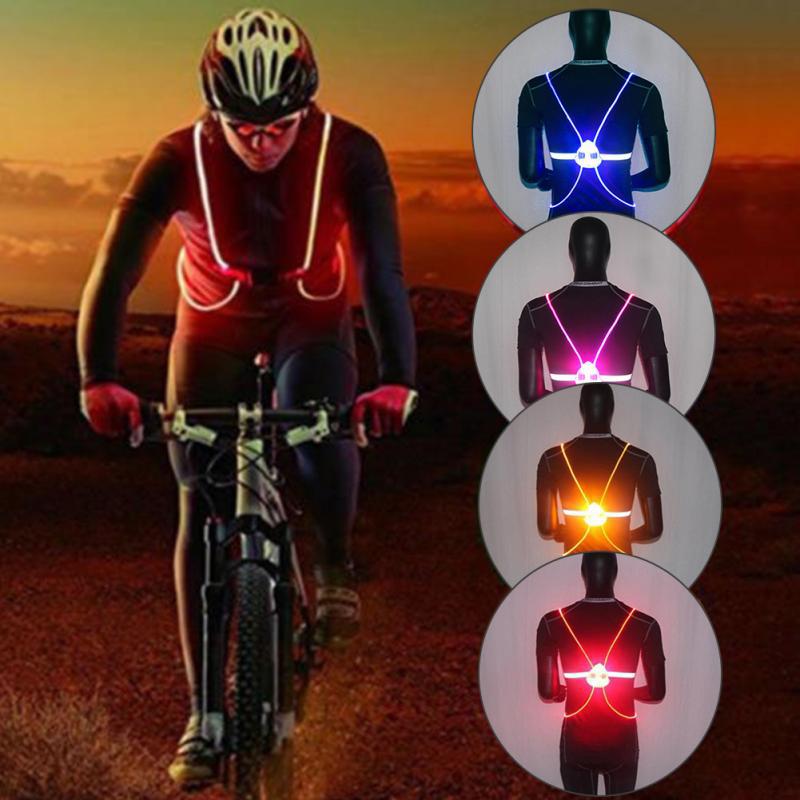 Nuit course cyclisme Sports de plein air clignotant gilet moto LED Fiber équitation allumer sécurité veste réfléchissante gilet
