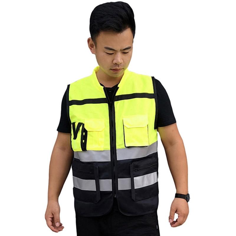 Gilet réfléchissant haute visibilité avertissement Multi poches en plein air sécurité