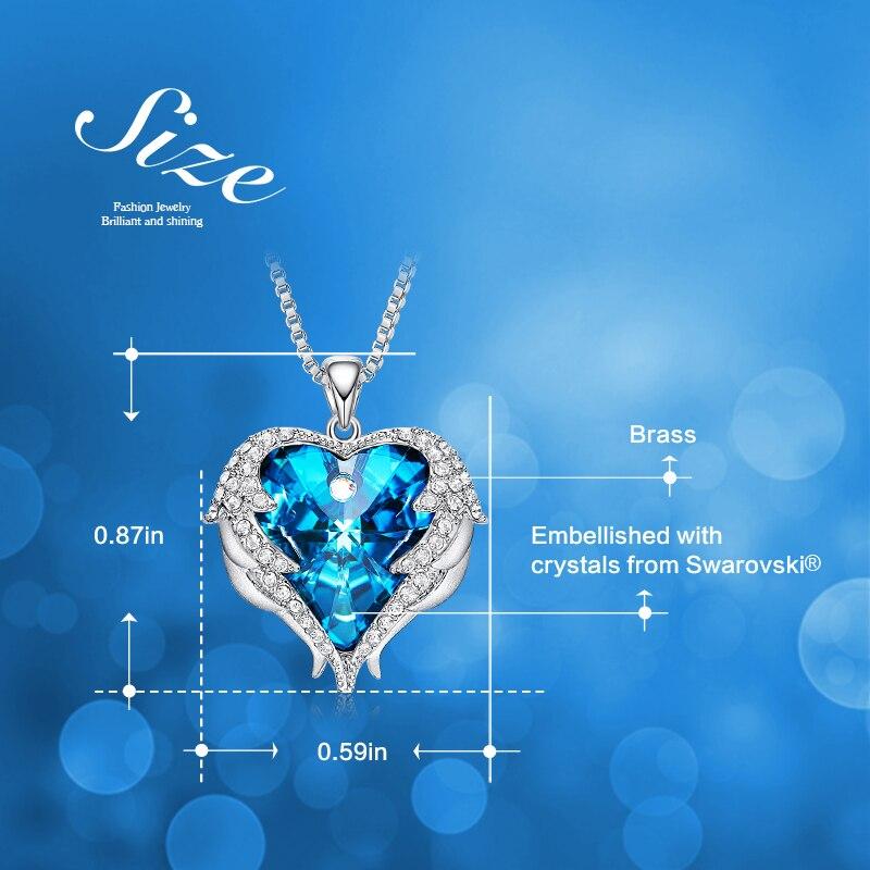 pendentif collier avec cristal coloré ange ailes coeur à offrir