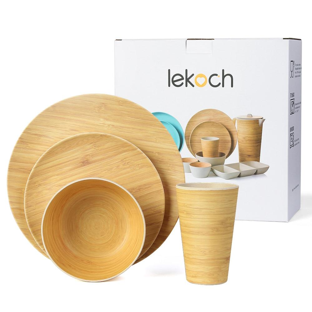 4 pièces pour 1 personne pique-nique dîner ensemble bambou motif assiette bambou