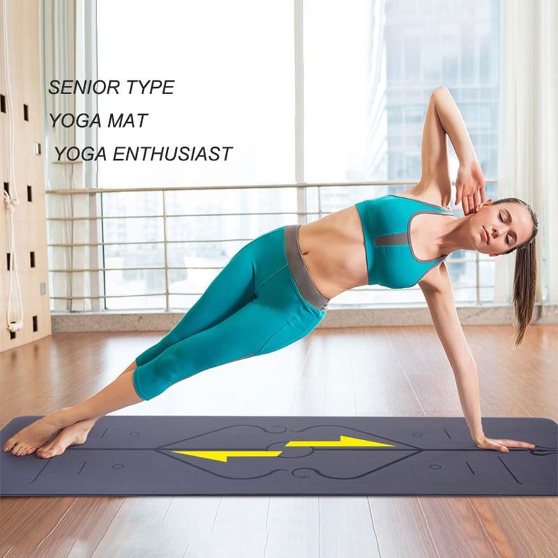 1Tapis de Yoga antidérapant en caoutchouc naturel de tapis de Yoga  5mm avec ligne de Position