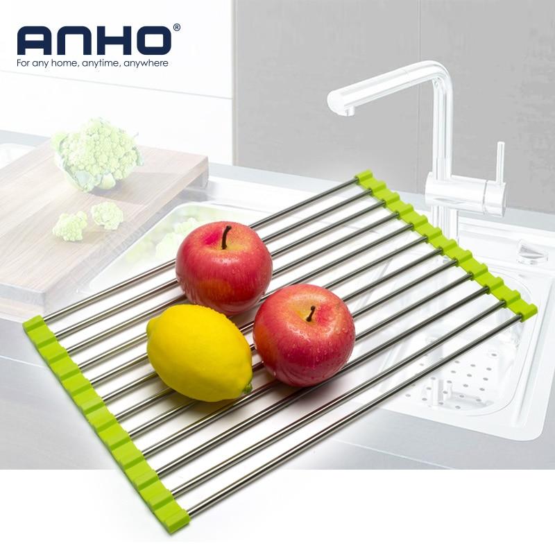 séchoir à vaisselle roll-up, 100% sans bpa pliable évier égouttoirs