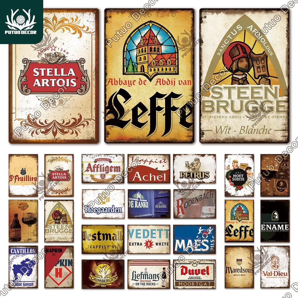 décor belgique bière Vintage étain signe métal signe décoratif Plaque décor mural Pub Bar homme Cave Club décoration