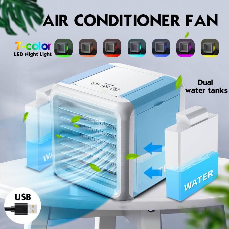 Mini Climatiseur Portable 7 Couleurs Climatisation Humidificateur Purificateur USB Bureau Refroidisseur d\'air Ventilateur avec 2 Réservoirs d\'eau À La Maison