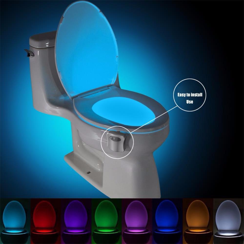 Smart PIR capteur de mouvement siège de toilette veilleuse 8 couleurs étanche rétro-éclairage pour cuvette de toilette LED