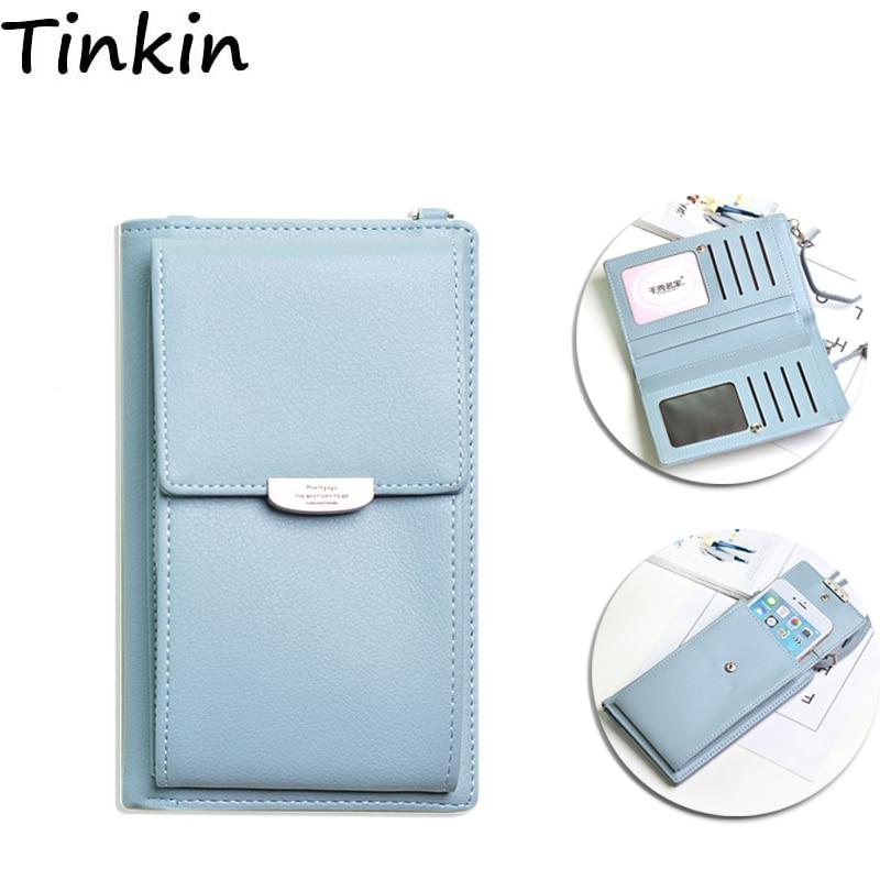 Tinkin PU cuir multifonction femmes sac à bandoulière mode couleur bonbon sac de téléphone portable