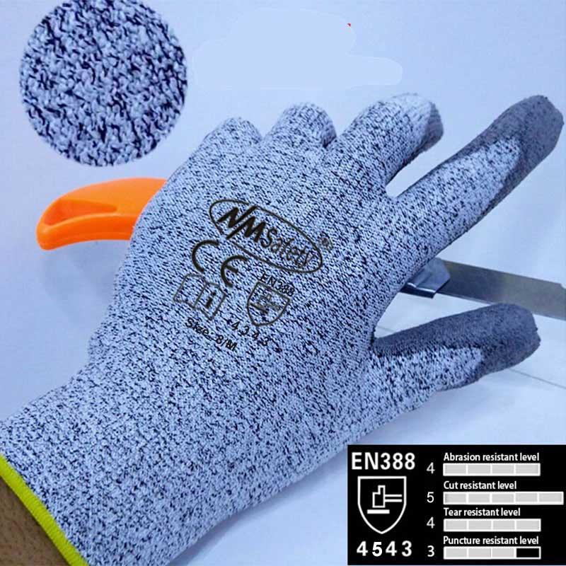 NMSafety gant de Protection Anti-couteau avec doublure résistant aux coupures gants de travail de sécurité