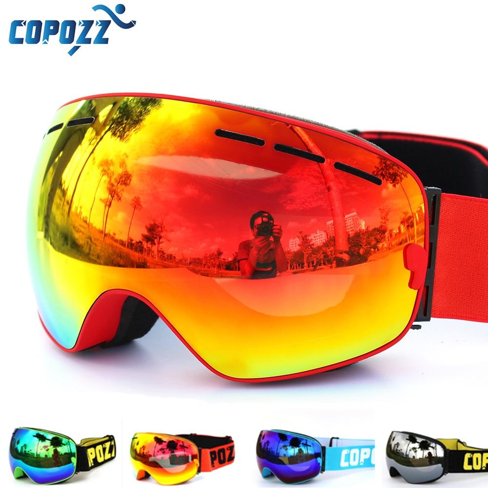 COPOZZ marque lunettes de ski double couches UV400 anti-buée grand masque de ski lunettes ski hommes