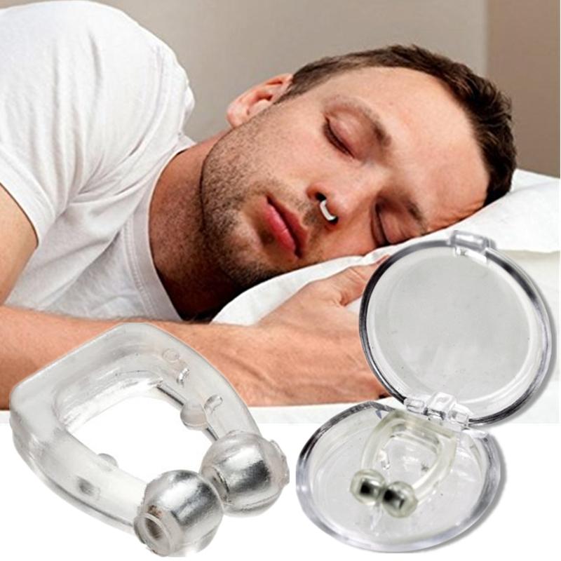 Noseclip 2 pièces pince nez Anti ronflement Silicone magnétique arrêt ronflement apnée du sommeil les 2 +étuis