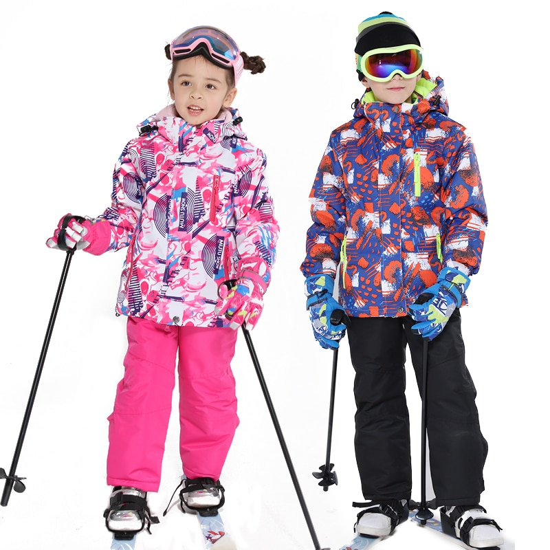 Enfants Ski costume enfants marques imperméable chaud filles et garçon neige veste et pantalon hiver Ski