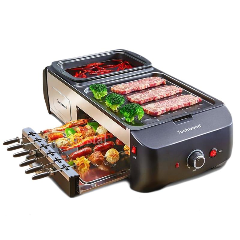 Multifonctionnel Électrique Plaque Chauffante Pot & Barbecue Tout en Un Machine Ménage