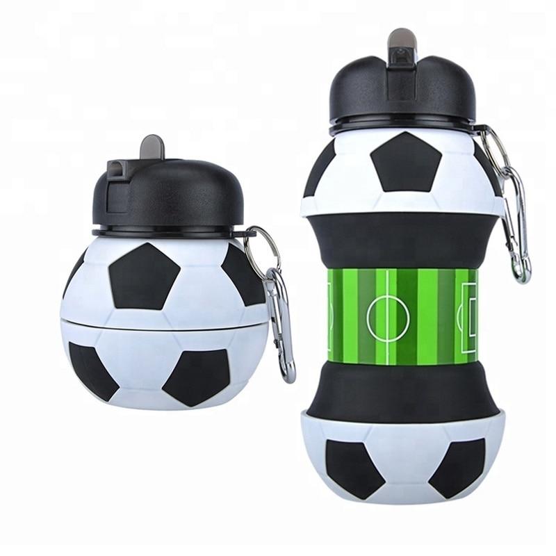 Nouveauté Football sport bouteille d\'eau avec paille pliable pliable voyage Silicone randonnée