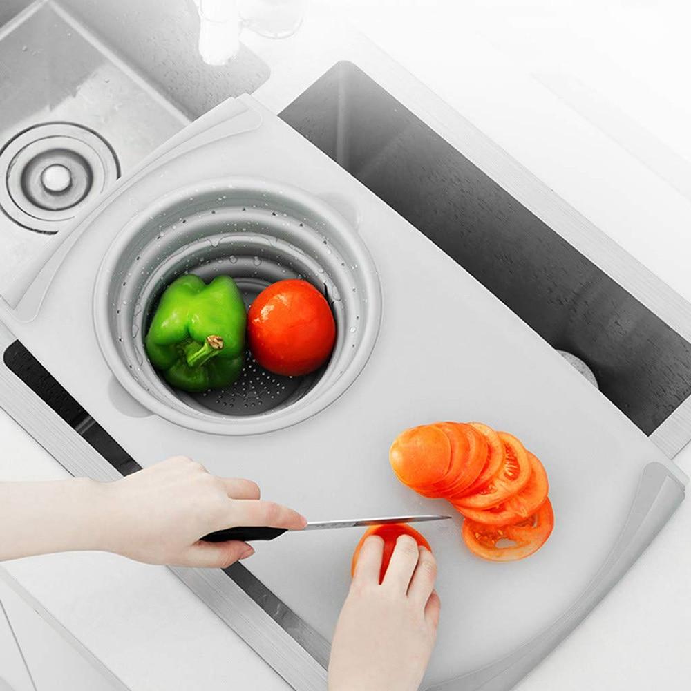 Cuisine innovante multi-fonctionnelle 3 en 1 Flexible Silicone planche à découper détachable pliant Drain
