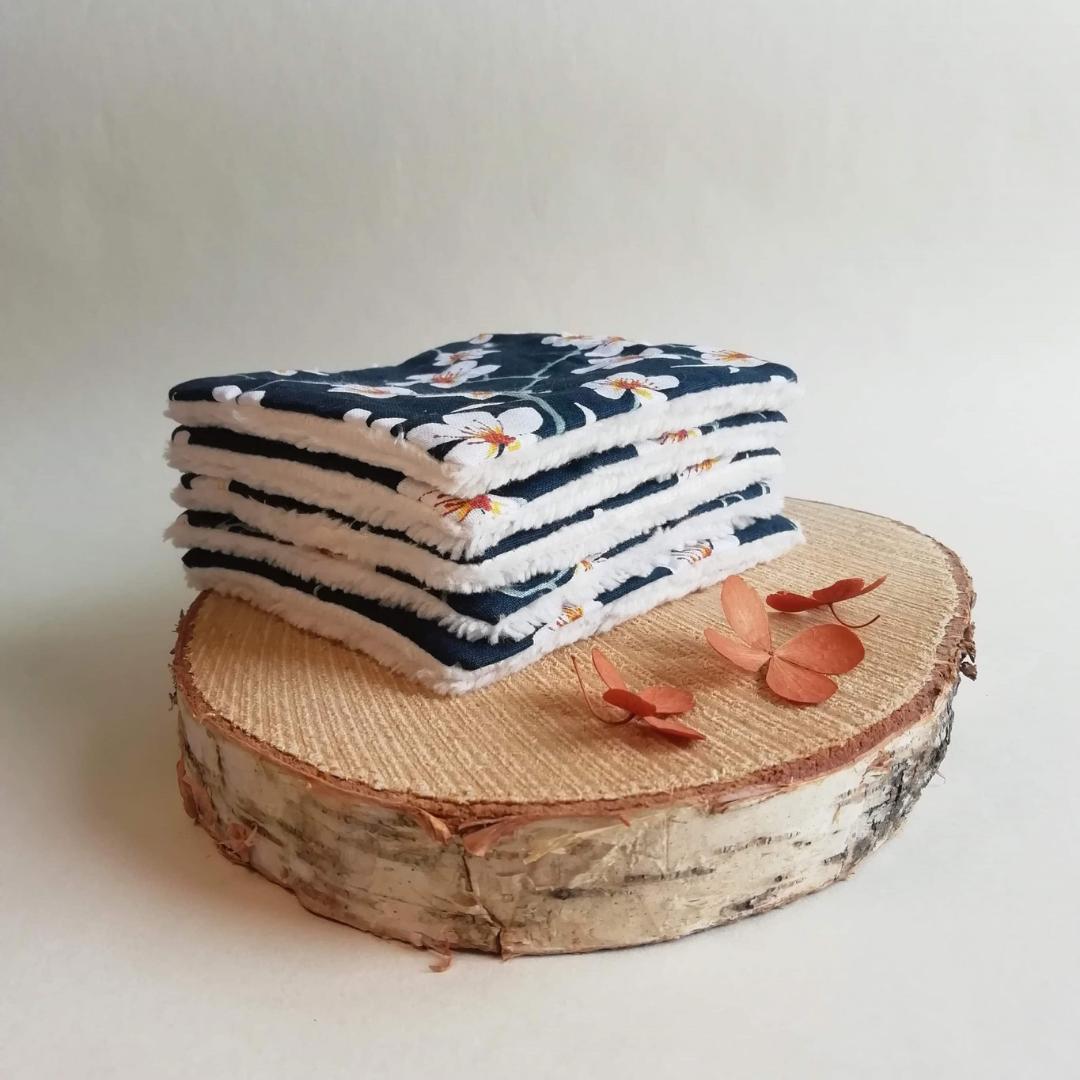 Lot de 5 lingettes lavables en bambou et coton L\' Amandier