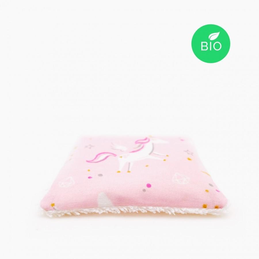Carrés de coton bio démaquillants lavables, LICORNE