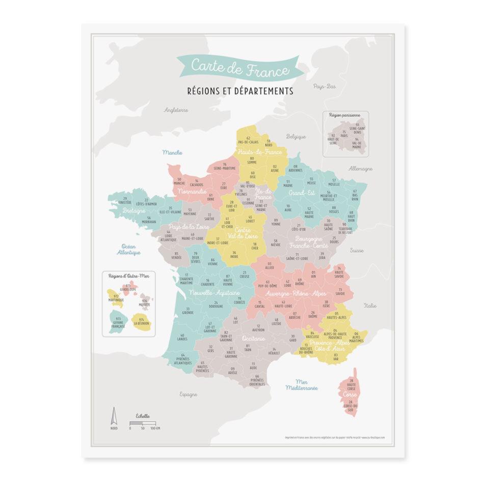 Affiche Carte de France Nouvelles Régions