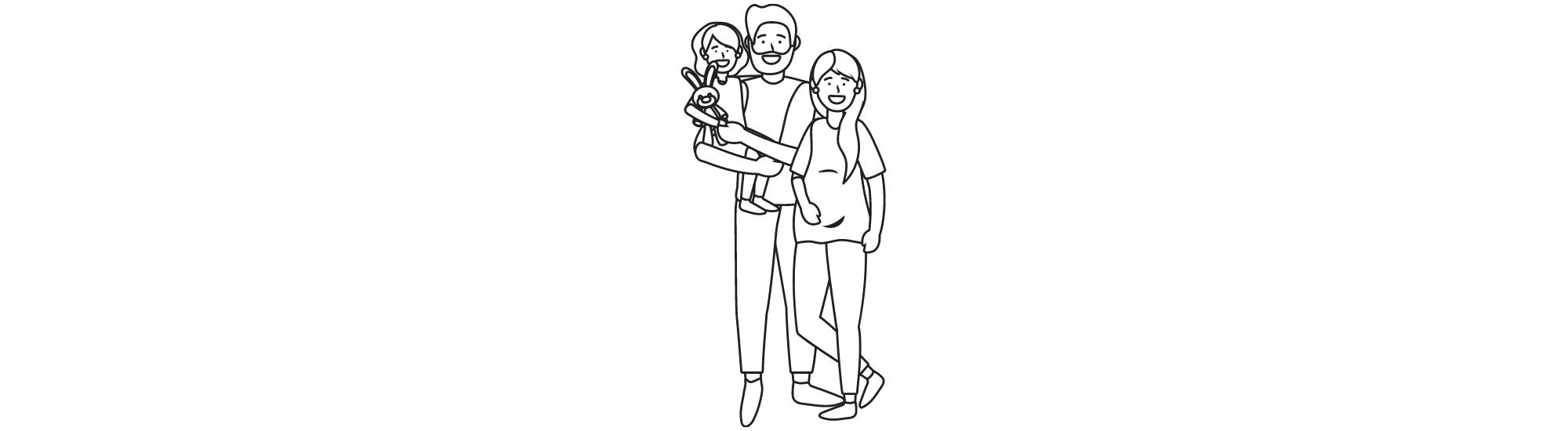 Dessin représentant Cléo & Jade en famille