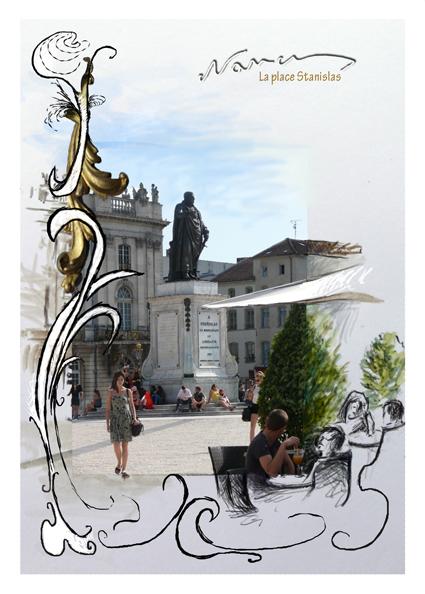 Place Stanislas Statue couleur Nancy