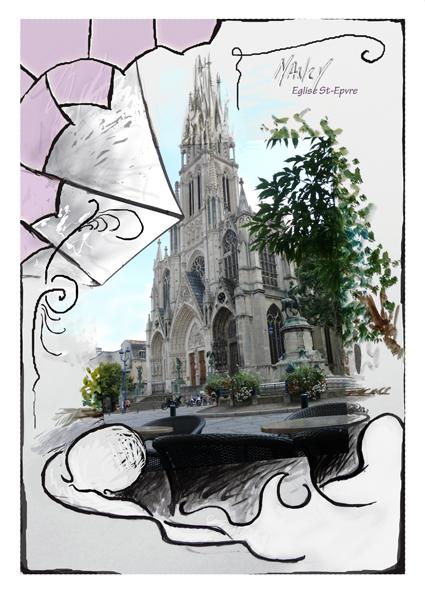 Basilique St Epvre depuis le Pinocchio Nancy