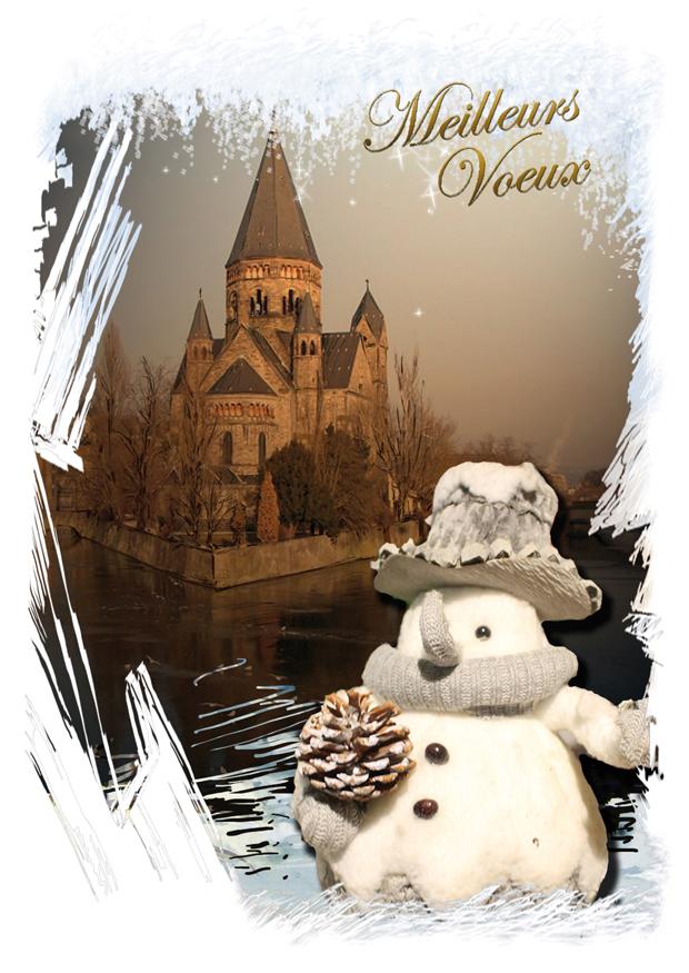 Vœux bonhomme de neige Metz