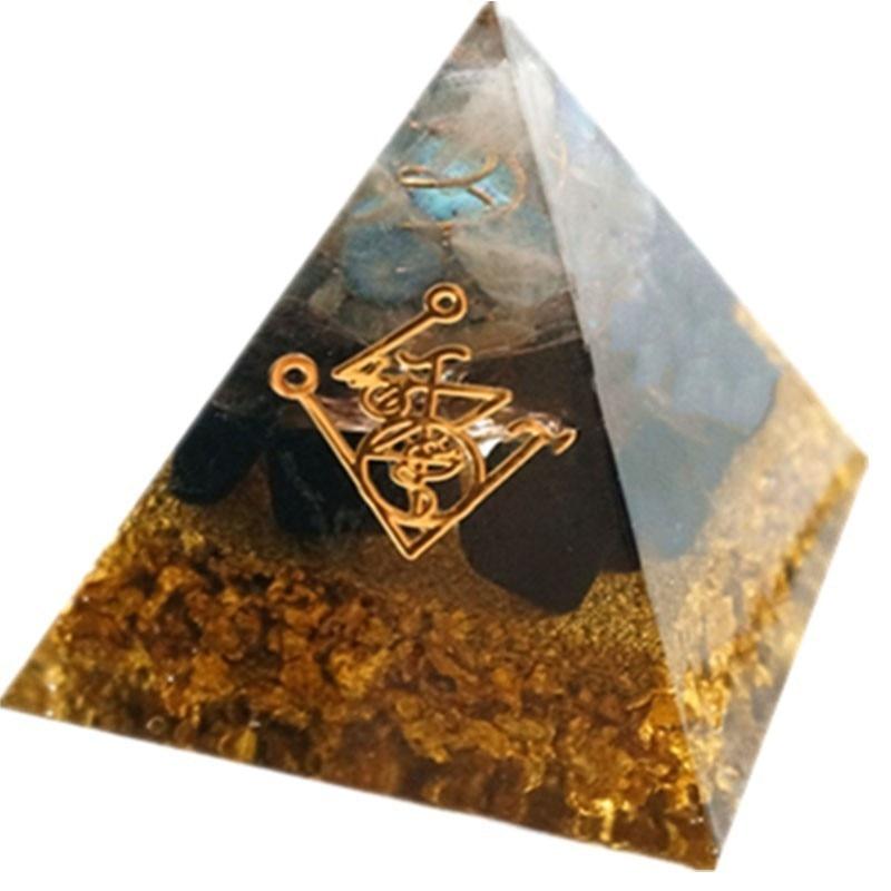 Pyramide de Protection et Fortune - Feuilles d\'Or et Obsidienne