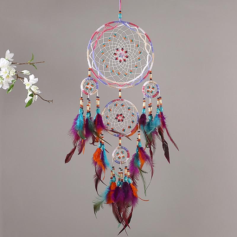 """Attrape rêve """" Cinq anneaux """" - Perles de couleurs et Plumes - Entièrement fait Main"""