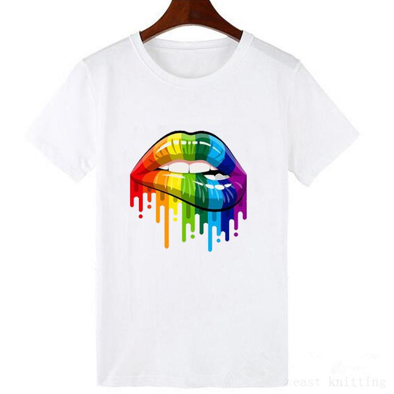T-shirt imprimé Lèvres arc-en-ciel - Blanc - S au XXL
