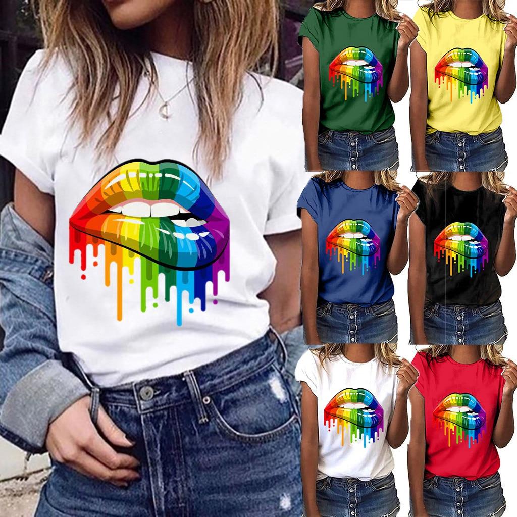 T-shirt imprimé Lèvres arc-en-ciel - 5 Couleurs au choix - S au 3XL