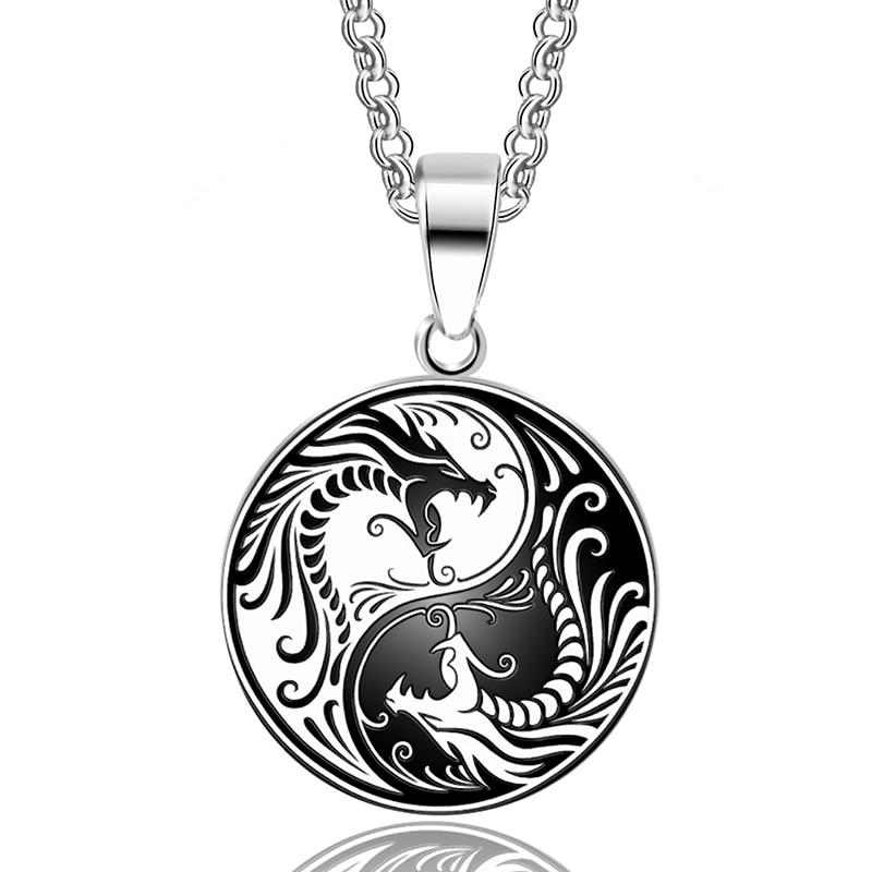 Collier pendentif Dragon - Yin et Yang - Acier