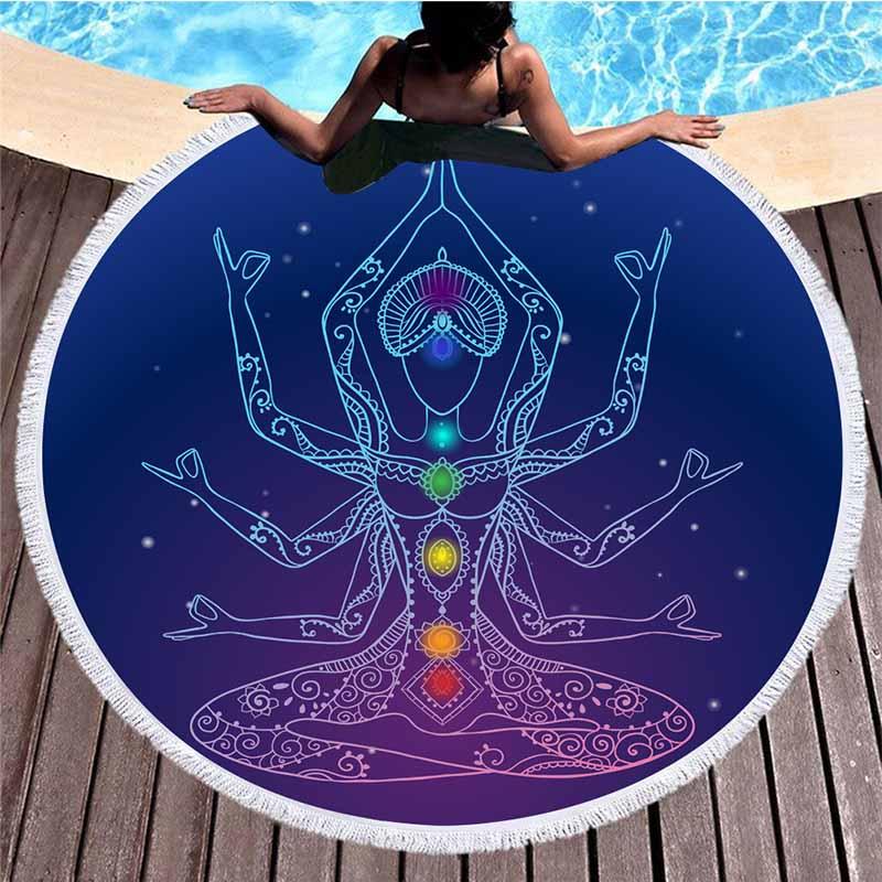 Fouta rond - Chakra Yoga - 5 Motifs au choix