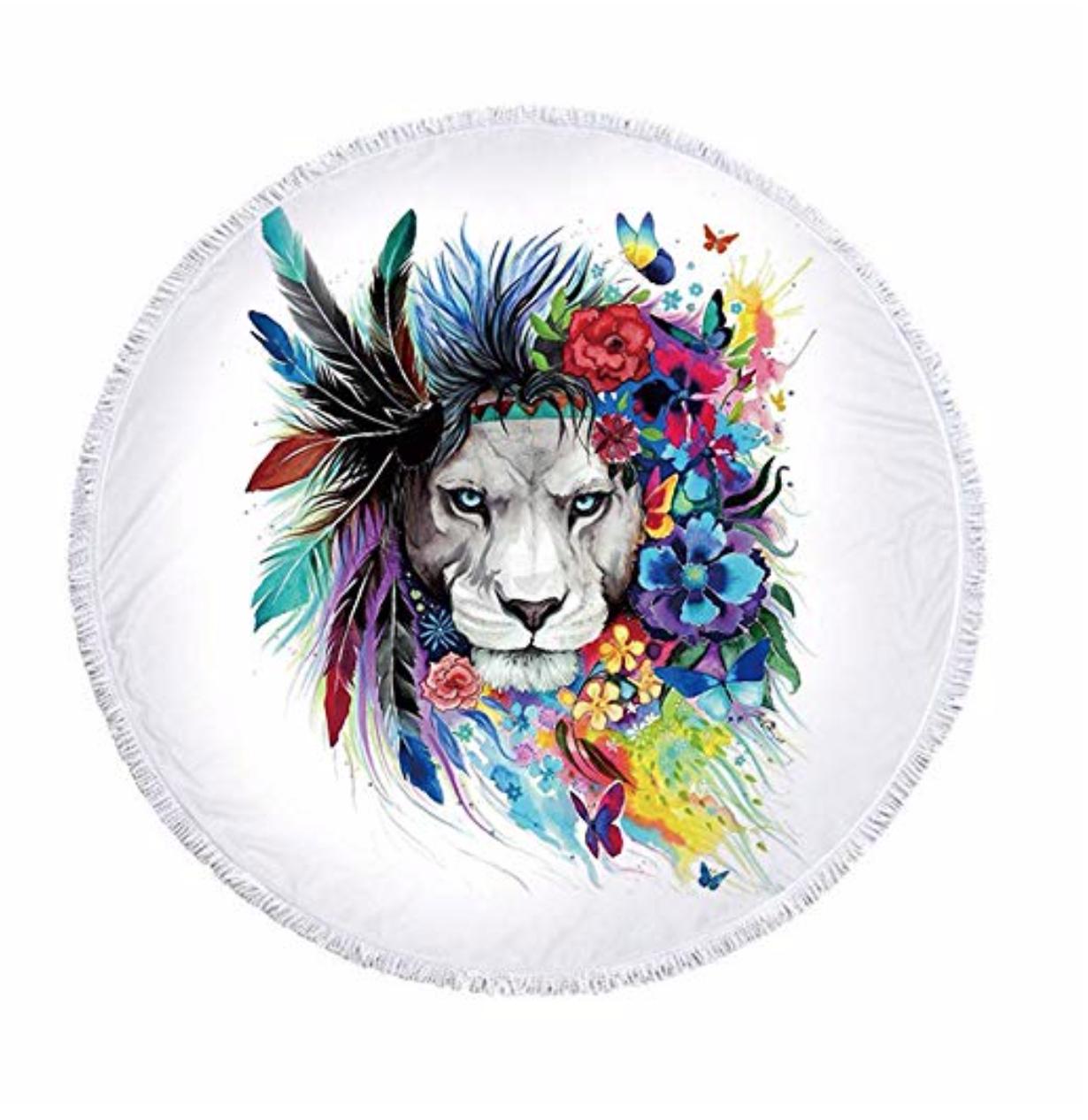 Serviette ronde - Lion été indien