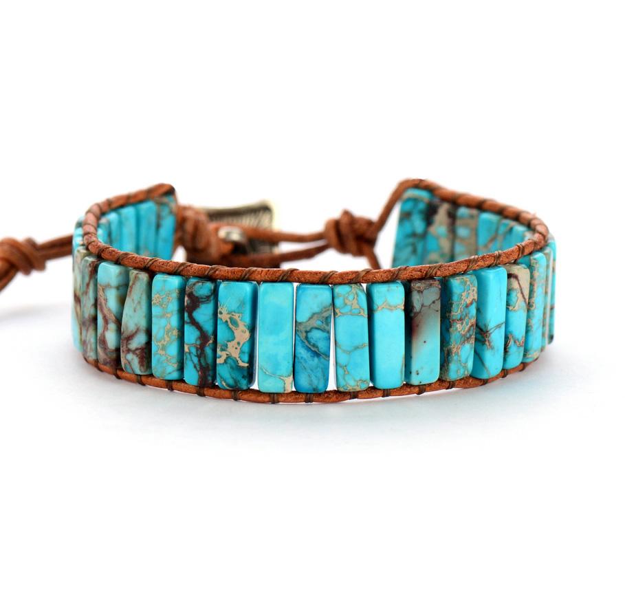 Bracelet bohème - Cuir et Pierre naturelle - 2 couleurs au choix