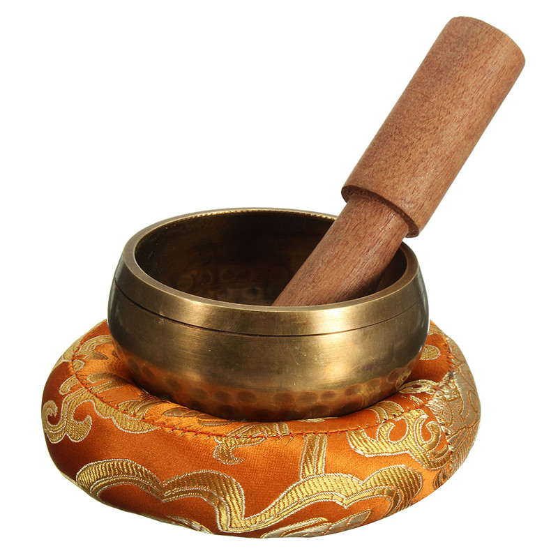 Ensemble 3 pièces -Bol Tibétain pour Méditation - Tapis et Bâton