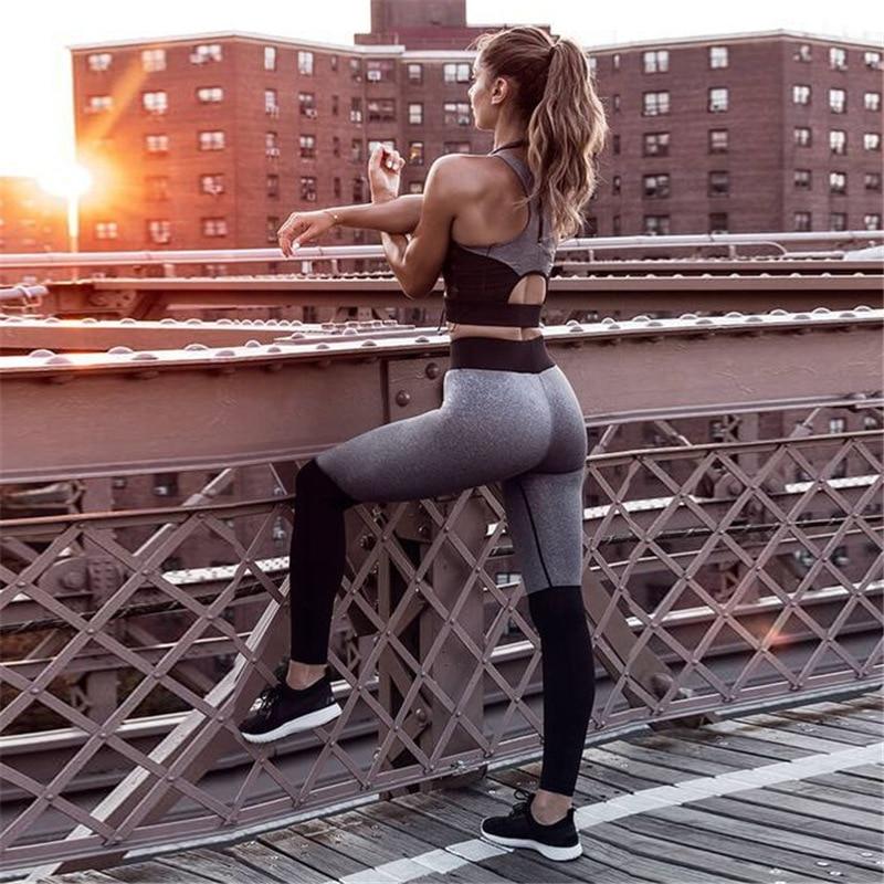 Legging et Brassière de Yoga - Gris - S au L