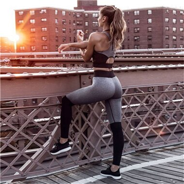 Ensemble Legging et Brassière de Yoga - Gris - S au L