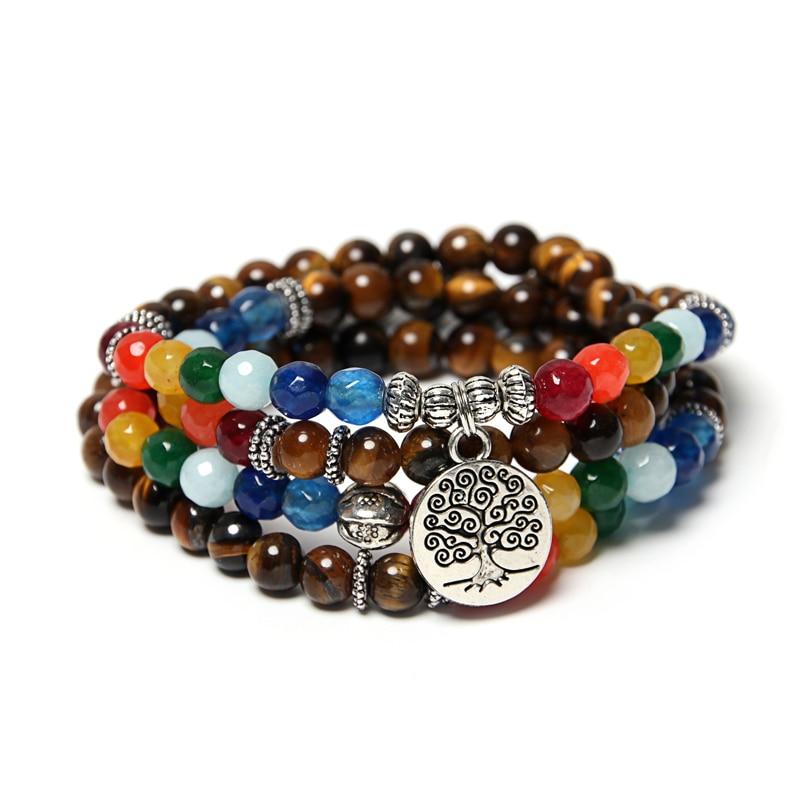 Bracelet multi-couleurs  Arbre de vie  - 108 Pierres naturelles - 6 MM