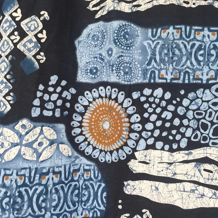 Tissu en coton et lin - Imprimé Folklorique bleu