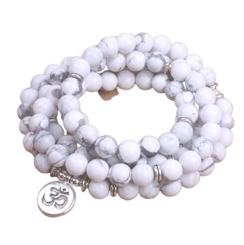 Bracelet Anti-stress - Howlite Blanche - 108 Pierres naturelles