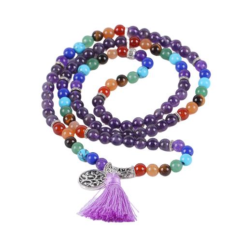 Bracelet ethnique de méditation - Améthyste - Lapis lazuli - Jade - 108 Pierres naturelles