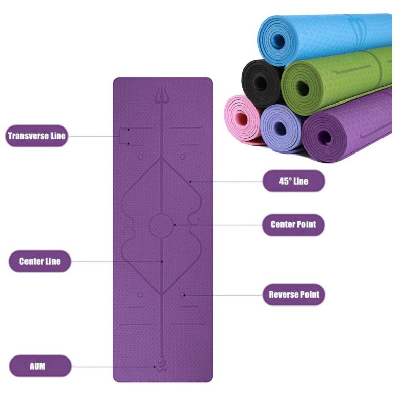 Tapis de yoga antidérapant Ecolo - Aide au positionnement - 6 MM