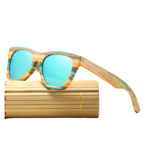 Lunettes de soleil Colorblock + Etui - Bambou naturel