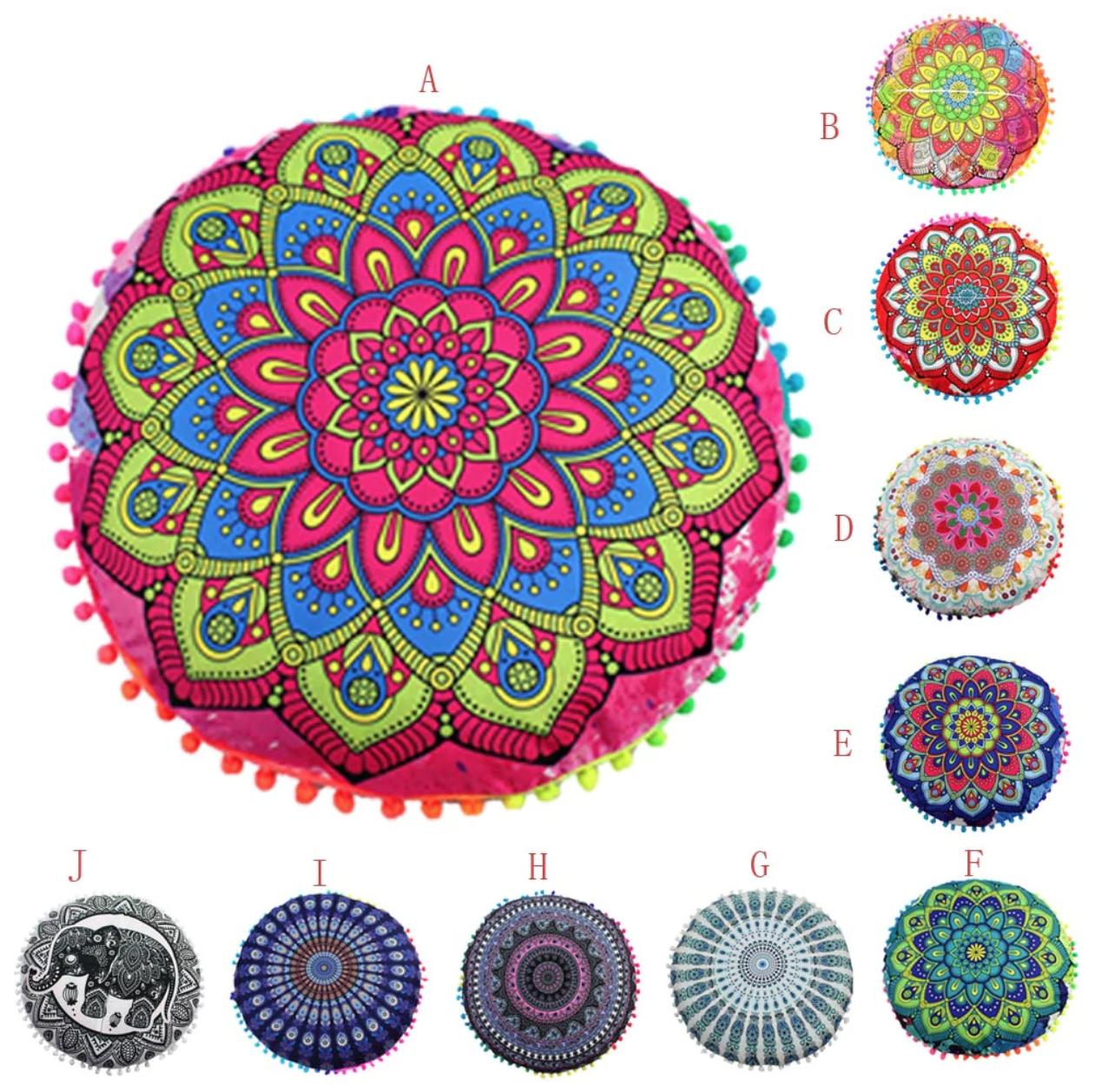 Housse pour Pouf rond - Motifs Mandala - Méditation et Décoration - 43 cm
