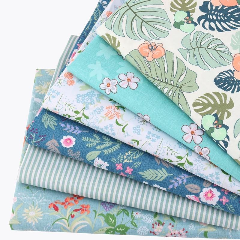 Lot de 6 carrés de tissus - Coton - Imprimés Fleurs