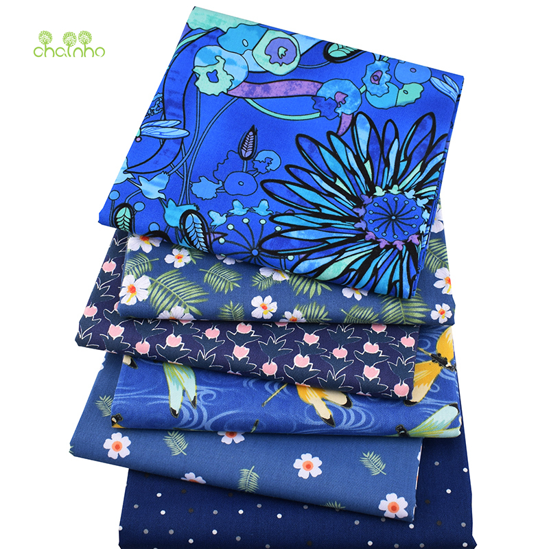 Lot de 6 carrés de tissus - Coton - Imprimés Fleurs Bleu Royal